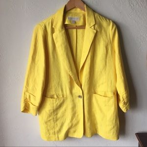 Yellow Michael Kors blazer with gold button